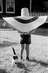 Lorenzo under hat with cat, 1959