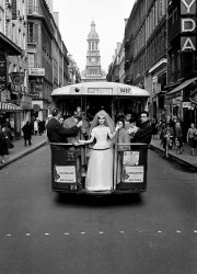 Wedding gown on bus, Paris, 1961
