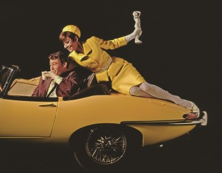 Audrey Hepburn and Peter O'Toole, on yellow car, 1966