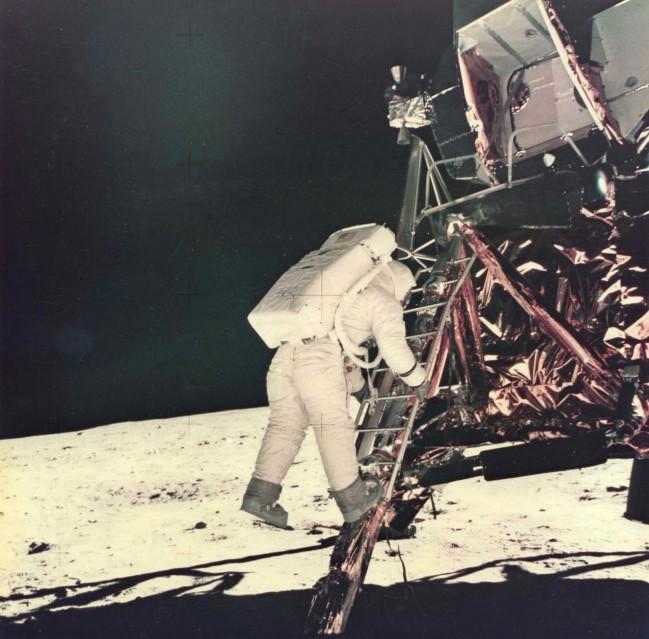 Apollo 11, Buzz Aldrin descends the steps of the Lunar Module (AS11-40-5868) - NASA