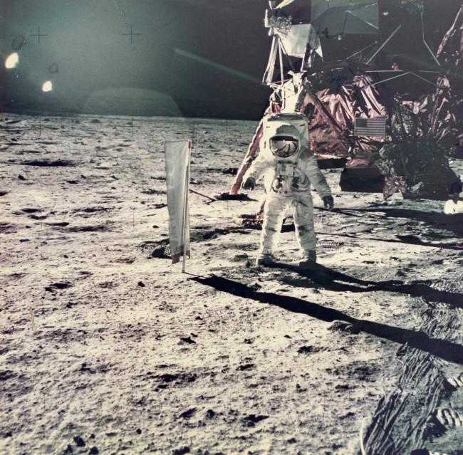 Apollo 11, Buzz Aldrin & Solar Wind Composition (AS11-40-5873) - NASA