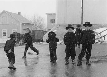 Amish Children Playing in Snow, 1969