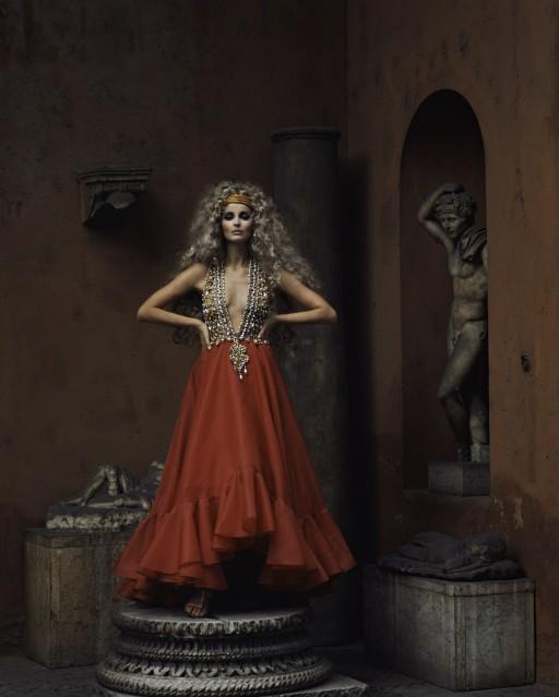 Samantha Jones in Red Dress, Rome, 1969 - Ormond GIGLI