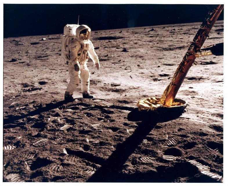 Apollo 11, Buzz Aldrin near a leg of the Lunar Module (AS11-40-5902) - NASA