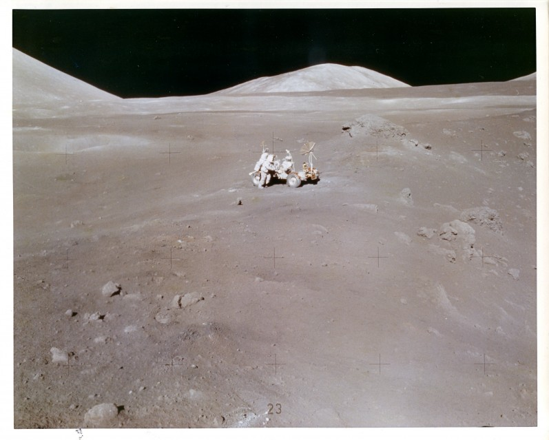 Apollo 17, Harrison Schmitt working at the Lunar Rover (AS17-137-21011) - Apollo
