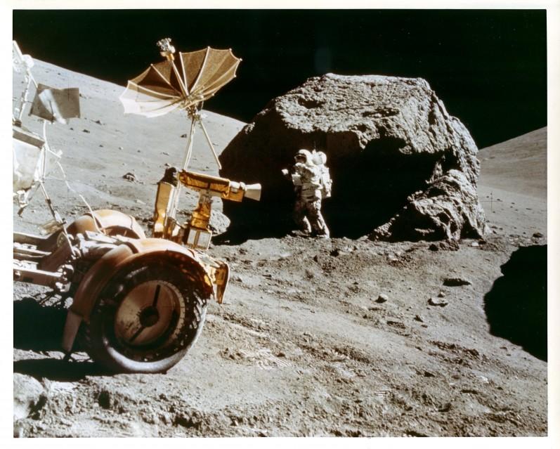 Apollo 17, Harrison Schmitt studying rocks (AS17-146-22294) - Apollo