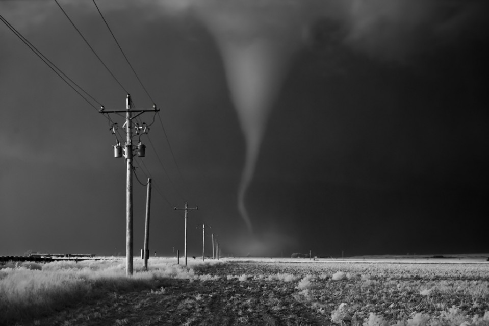 Tornado crossing power poles - Mitch DOBROWNER
