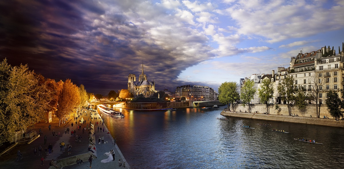 Photo of Notre Dame Cathedral in Paris taken from the Tournelle Bridge.