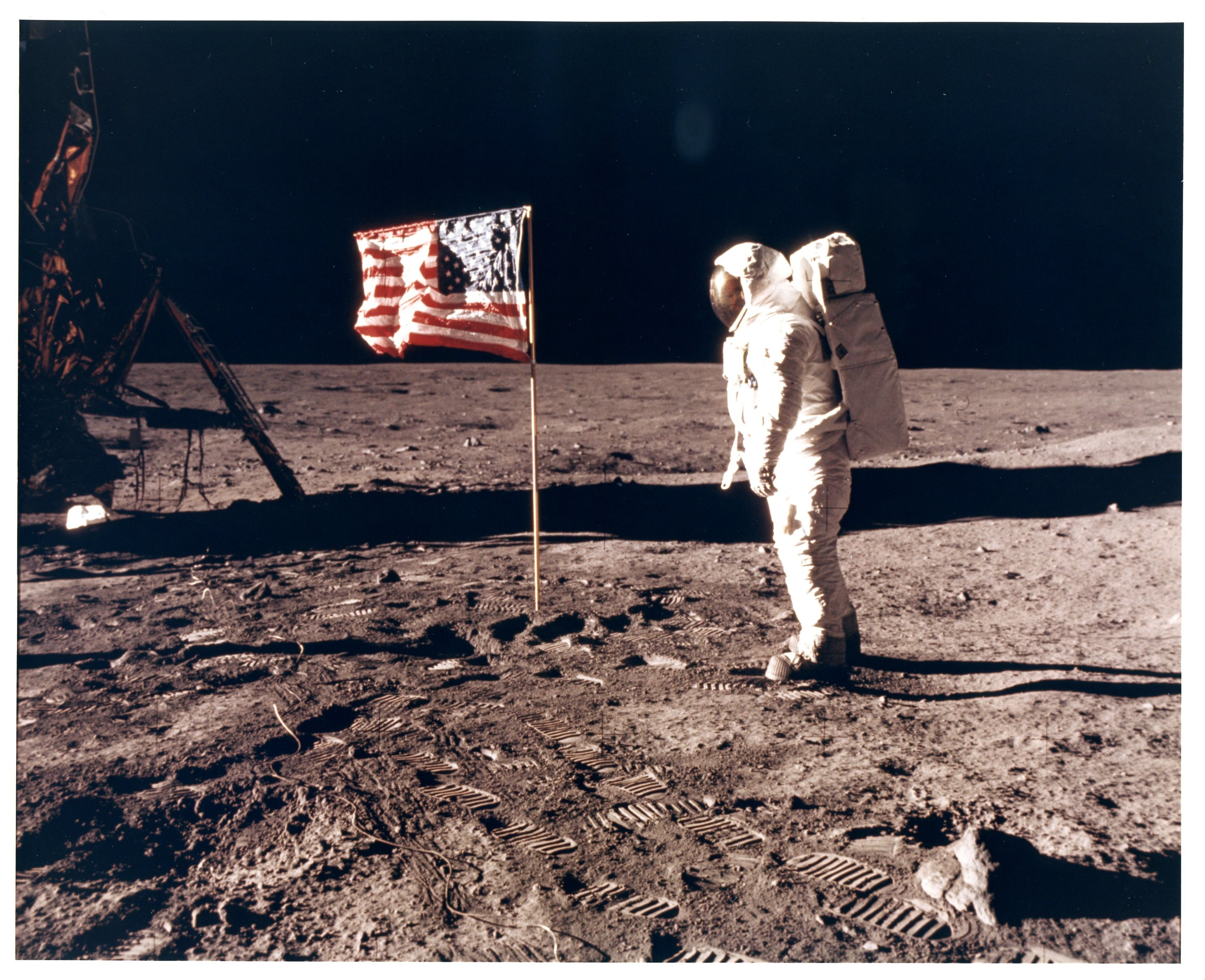 Apollo 11, Buzz Aldrin with the flag of the United States (AS11-40-5880), 1969