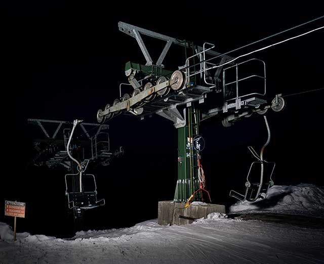 Photographs taken in a ski station at night by famous italian photographer Stefano CERIO. The lonely chair lift give a strange feeling of uncaniness.